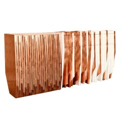 Collectible Contemporary Design Console Table Handmade in Wood and Copper Leaf