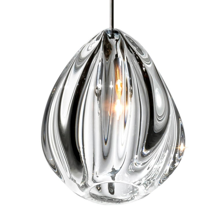 Artisan Blown Glass Shade • Clear Barnacle Pendant Light, Made in USA