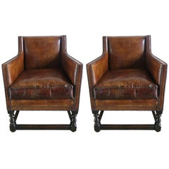 Deco Embossed Faux Crocodile Leather Chairs, Pair