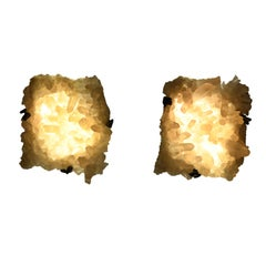 Pair of Natural Clusters Rock Crystal Sconces by Phoenix