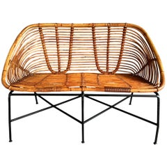 French Rattan Settee