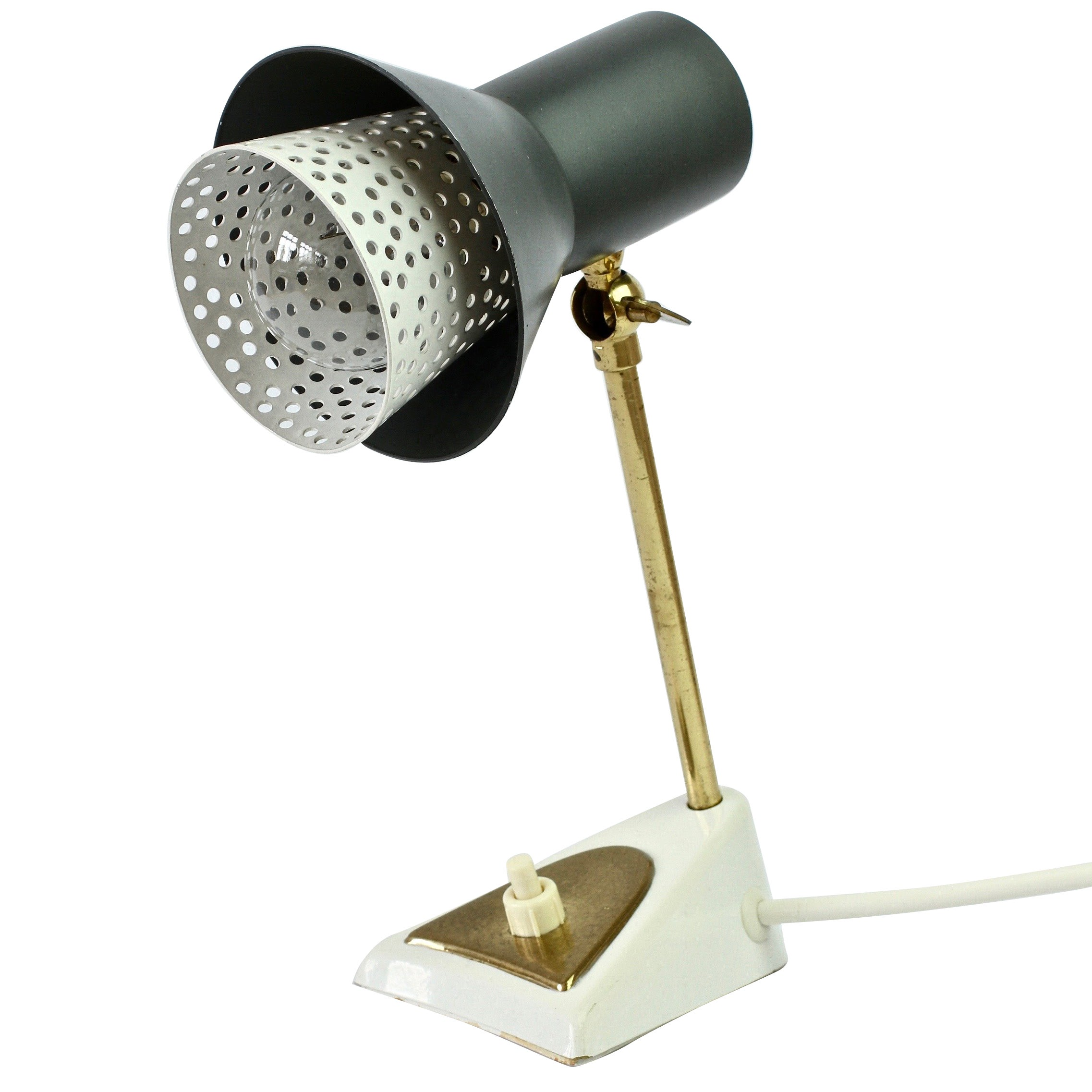 Mathieu Matégot Style 1950s Perforated Metal Shade Table Lamp or Desk Light