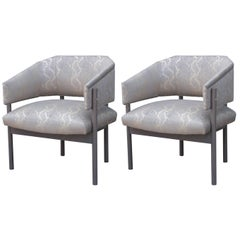 Pair of Custom Modern Lounge Gray Lounge Chairs Python