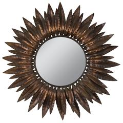 Sunburst Mirror with Antique Copper Finish