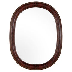 Mid-Century Modern Red Snakeskin Mirror in Embossed Leather