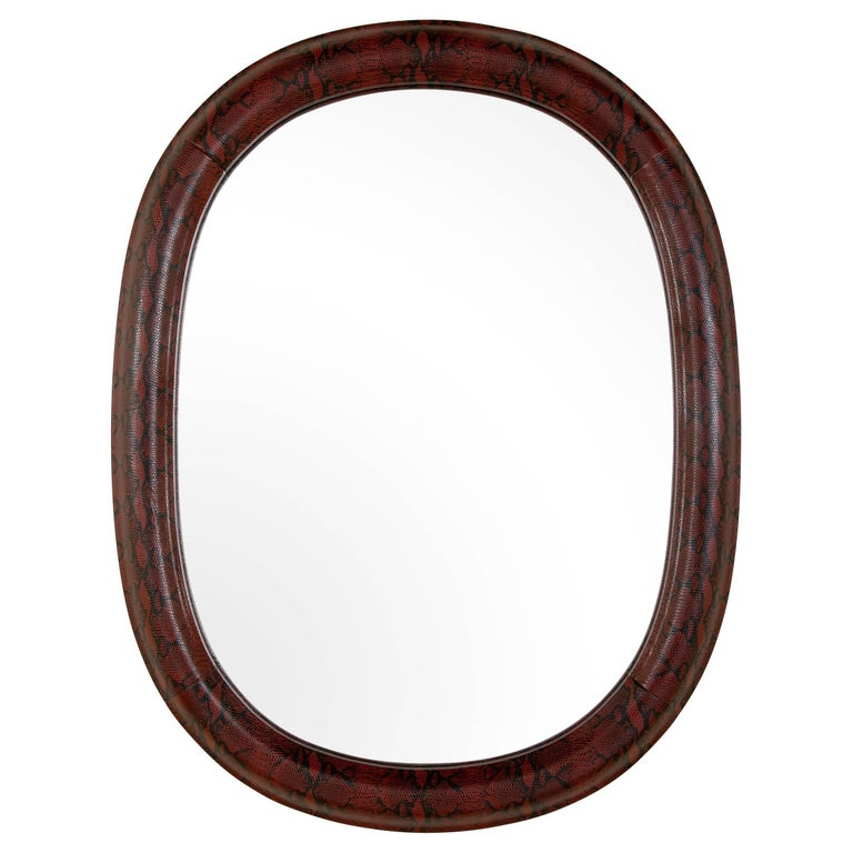 Mid-Century Modern Red Snakeskin Mirror in Embossed Leather For Sale