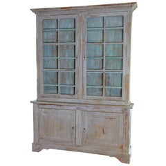 19th Century French Provençal Louis Philippe Style Painted Buffet Deux Corps