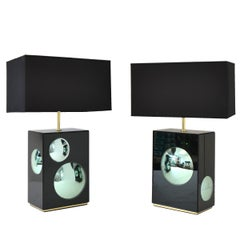 Pair of Bubble Table Lamps in Brass with Colored Mirrors, Made in Italy