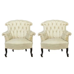 Pair of French Armchairs in Muslin
