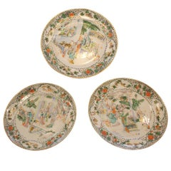 Set of Three Porcelain Famille Verte Plates with Chinoiserie Design