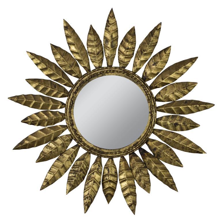 Round Gilt Iron Sunburst Mirror