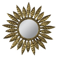 Round Spanish Gilt Metal Sunburst Mirror