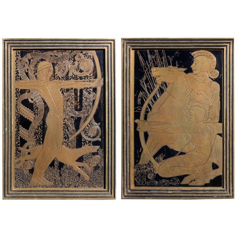 Art Deco Bronze Plaques of Mythological Archers