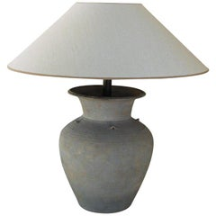Unglazed Khmer Vase as Table Lamp