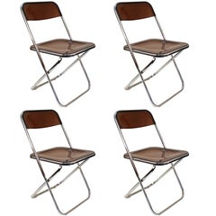 Giancarlo Piretti Plia Style Folding Chairs in Smoked Lucite