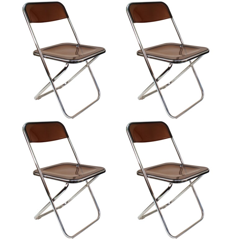 Giancarlo Piretti Plia Style Folding Chairs in Smoked Lucite For Sale
