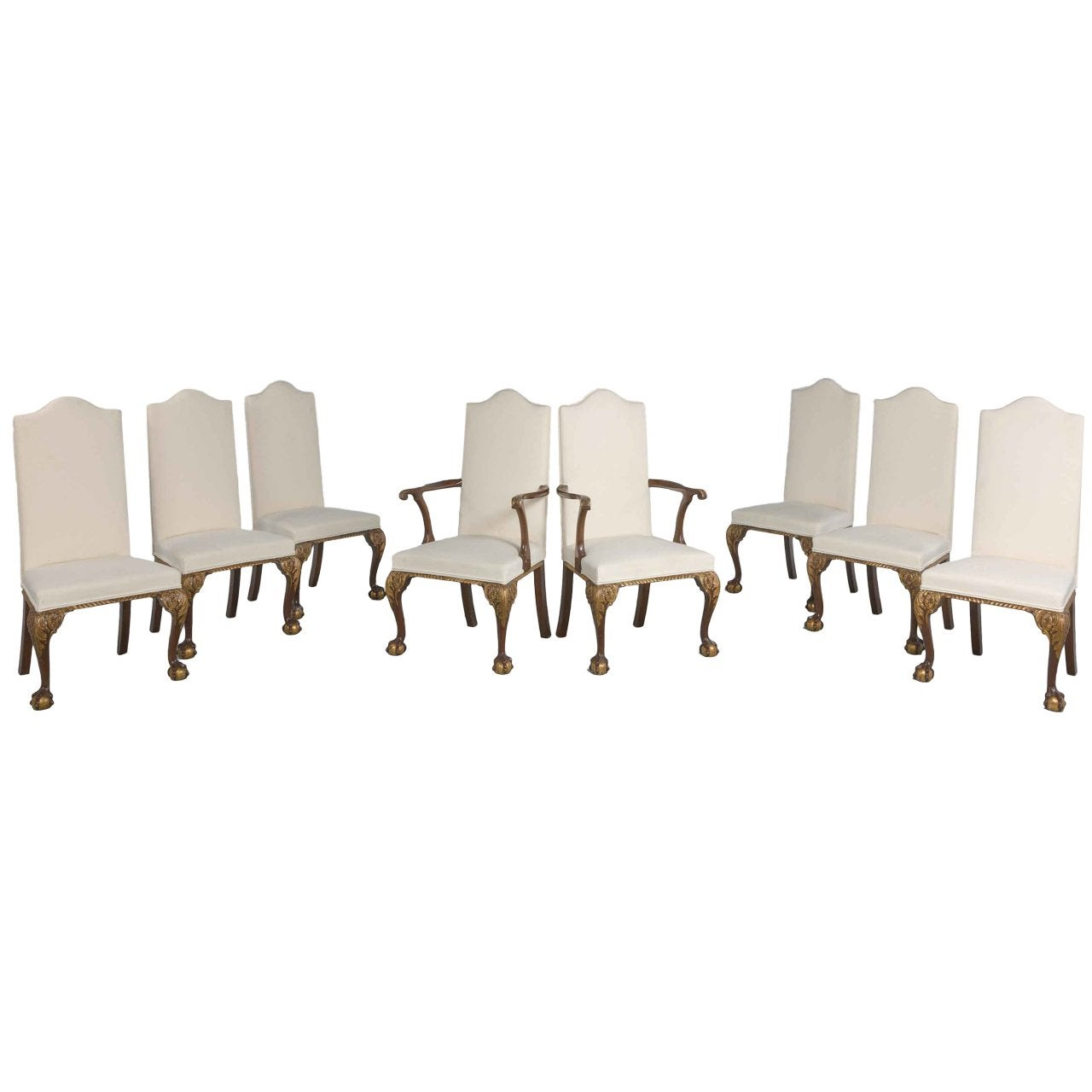 Set of Eight Walnut and Parcel-Gilt Chairs