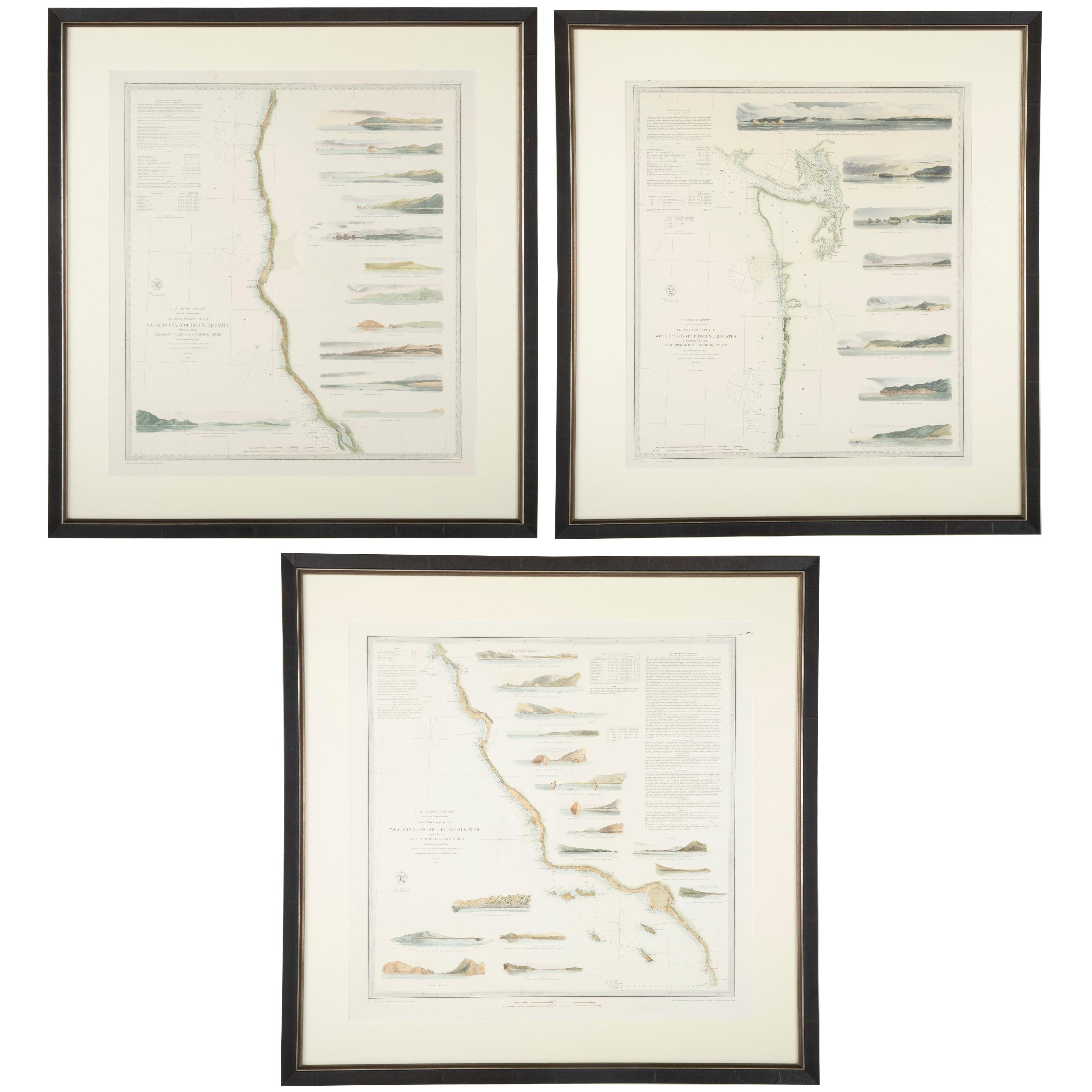 Mid-19th Century Set of Three Charts of the West Coast