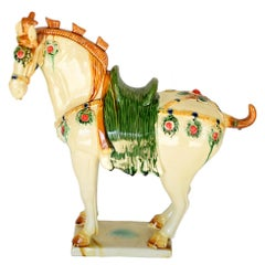 Large White Chinese Pottery Horse with Ruby Colored Studs