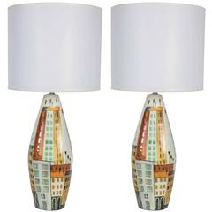 Pair of Italian Cityscape Ceramic Lamps by Bitossi