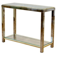 Romeo Rega Style Chrome & Brass Bicolor Two-Tiered Double Shelved Console Table