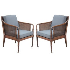 Pair of Modern Baker Furniture Faux Bamboo and Cane Grey Linen Lounge Chairs