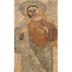 Provincial Byzantine Stone Mosaic of the Madonna and the Sacred Heart Lifesize