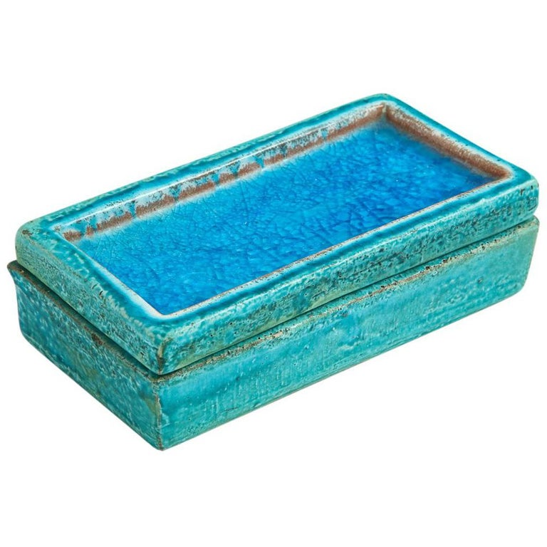 Bitossi Raymor Ceramic Box Lidded Fused Glass Turquoise Blue Signed Italy, 1960s