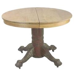 American Classic Oak Round Ball Claw Dining Extension Table, circa 1890