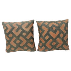 CLOSE OUT SALE: Pair of Vintage Red and Grey African Raffia Decorative Pillows