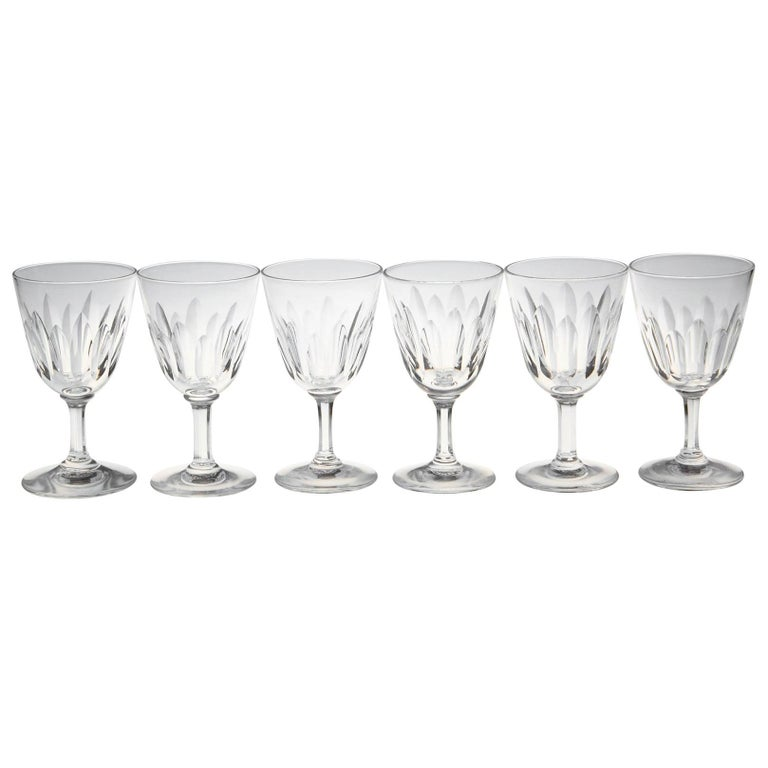 Set of Six Baccarat Crystal 'Verone' Pattern Sherry or Port Glasses, circa 1950s For Sale