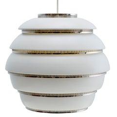 Alvar Aalto A331 'Beehive' Pendant Light for Artek in White and Chrome