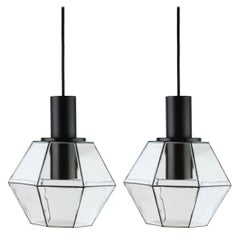 Limburg Pair of Minimalist Geometric Black and Clear Glass Pendant Lights