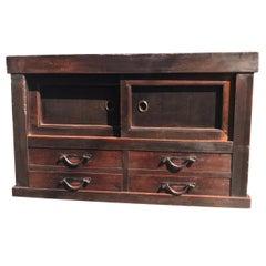 Japanese Fine Antique Handcrafted Wood Storage Cabinet Chest, 100% original