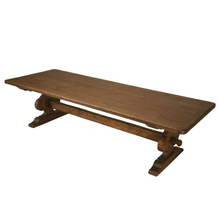 Italian Trestle Dining Table from Reclaimed Wood For Sale