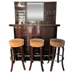 Estate Mahogany Art Deco Style Bar Set: 3 Stools, Bar and Bar Back with Mirror
