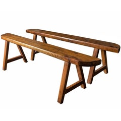 Pair of Matching Aged Cherrywood Wabi-Sabi Style Benches, France, circa 1950