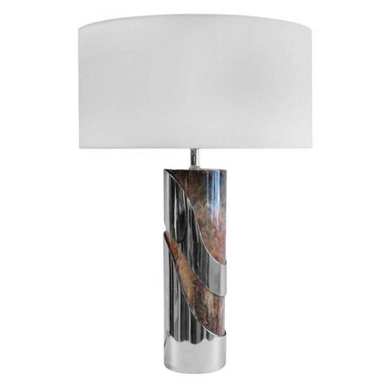 1970s French Curved Chrome and Resin Table Lamp