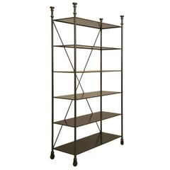 Industrial Style Etagere in Steel and Bronze