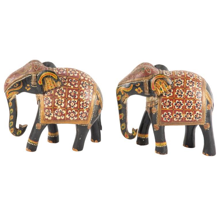 Wood Carved Asian Elephants