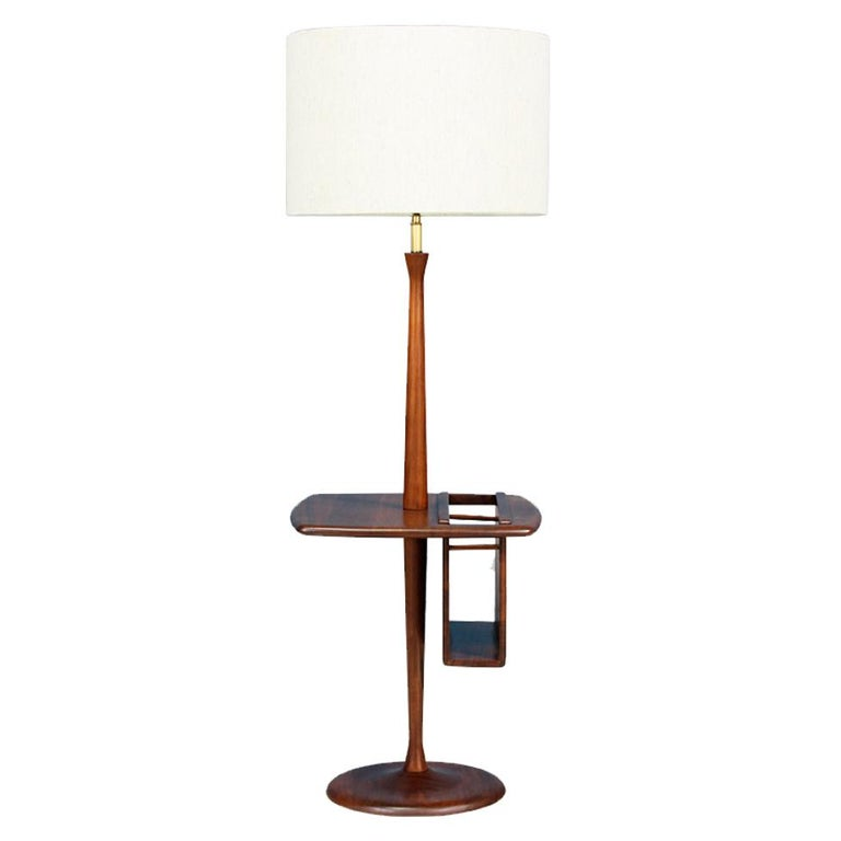 Mid-Century Floor Lamp with Magazine Tray by Laurel