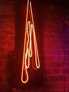 'Drips' Wall-Mounted Neon Light Sculpture Resin Coated on Oak