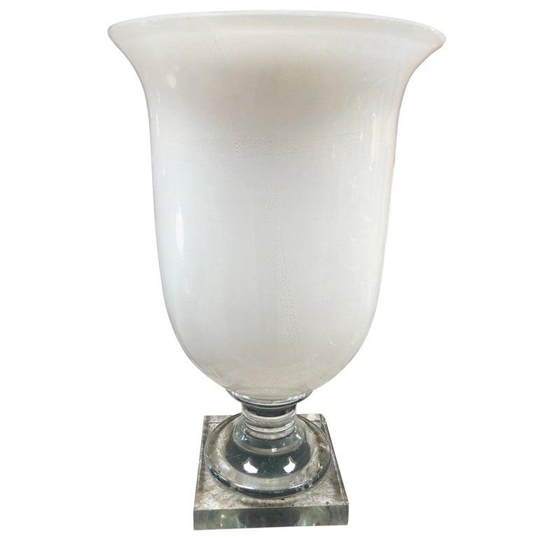 Italian Murano Opaline Glass Urn Lamp, 1950s For Sale