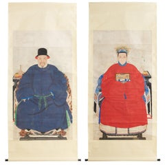 Pair of 19th Century Chinese Ancestor Scroll Portraits