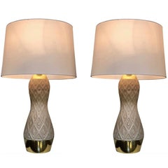 Midcentury Pair of Ceramic Table Lamps by Gerald Thurston, for Lightolier
