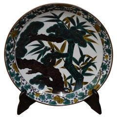 Japanese Kutani Hand-Painted Green Porcelain Charger by Master Artist