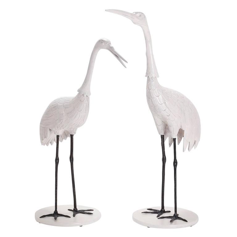 Pair of Mid Century Crane Sculptures  For Sale