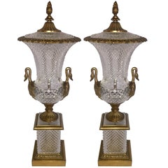 French Neoclassical Pair of Bronze Crystal Empire Ormolu Urn Swan Handle
