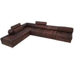 DS88 Modular Brown-Cognac Leather Patchwork Sofa for De Sede, Switzerland