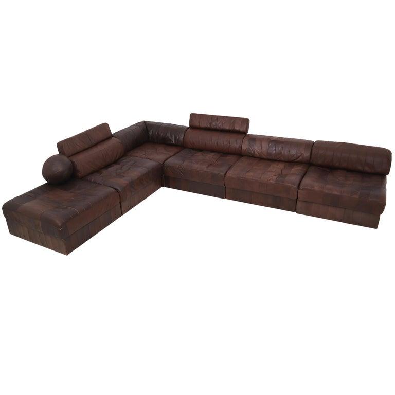 DS88 Modular Brown-Cognac Leather Patchwork Sofa for De Sede, Switzerland